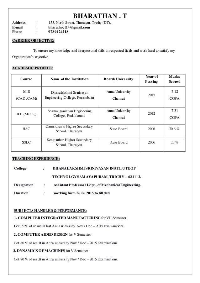 ASSISTANT PROFESSOR BHARATHAN RESUME. BHARATHAN . T Address : 153, North  Street, Thuraiyur, ...  Professor Resume