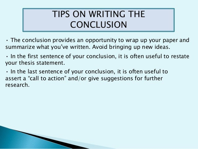 Using in conclusion writing