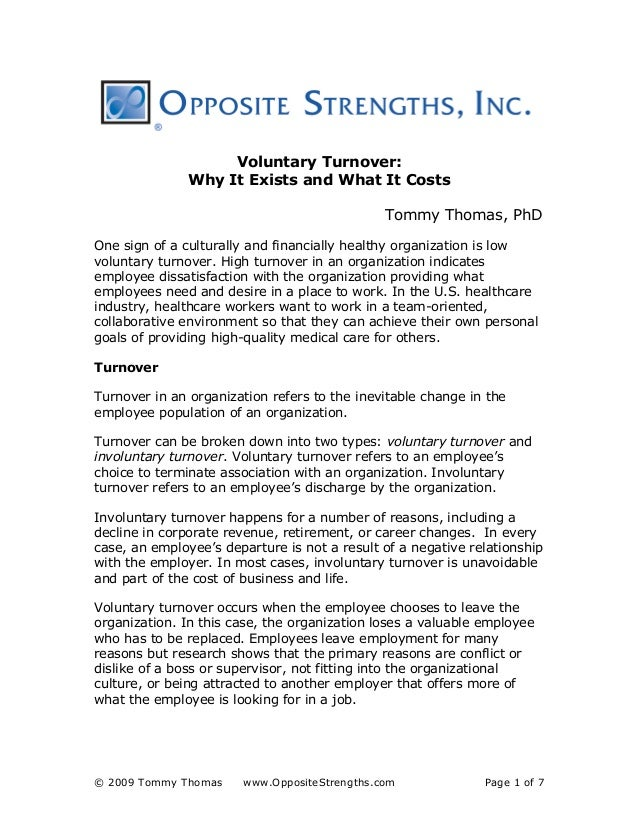 OppositeStrengths Page 1 Of 7 Voluntary Turnover