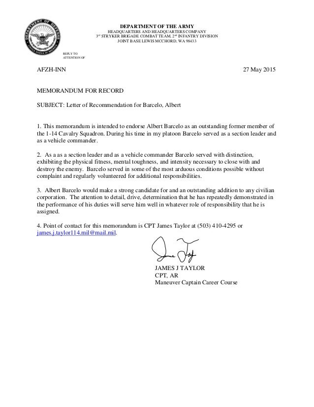 Letter Of Recommendation For Military
