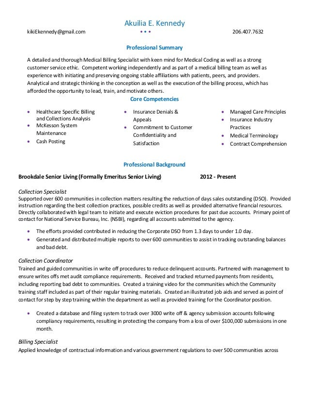 sincerely akuilia e kennedy 2 - Medical Billing Resume