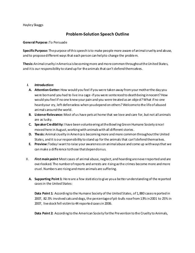 persuasive speech outline in problem cause solution design