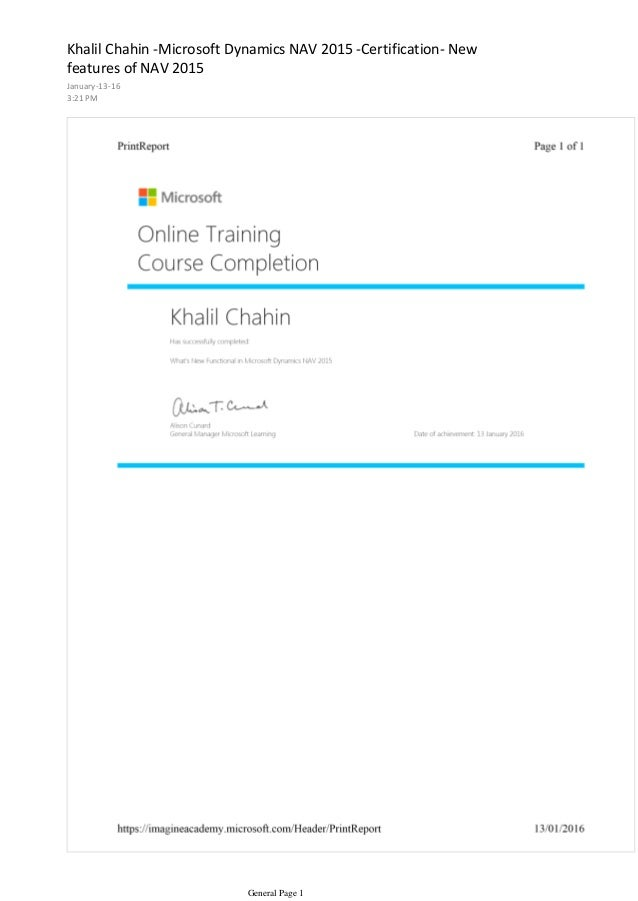 Khalil Chahin Microsoft Dynamics Nav 2015 Certification New Featur