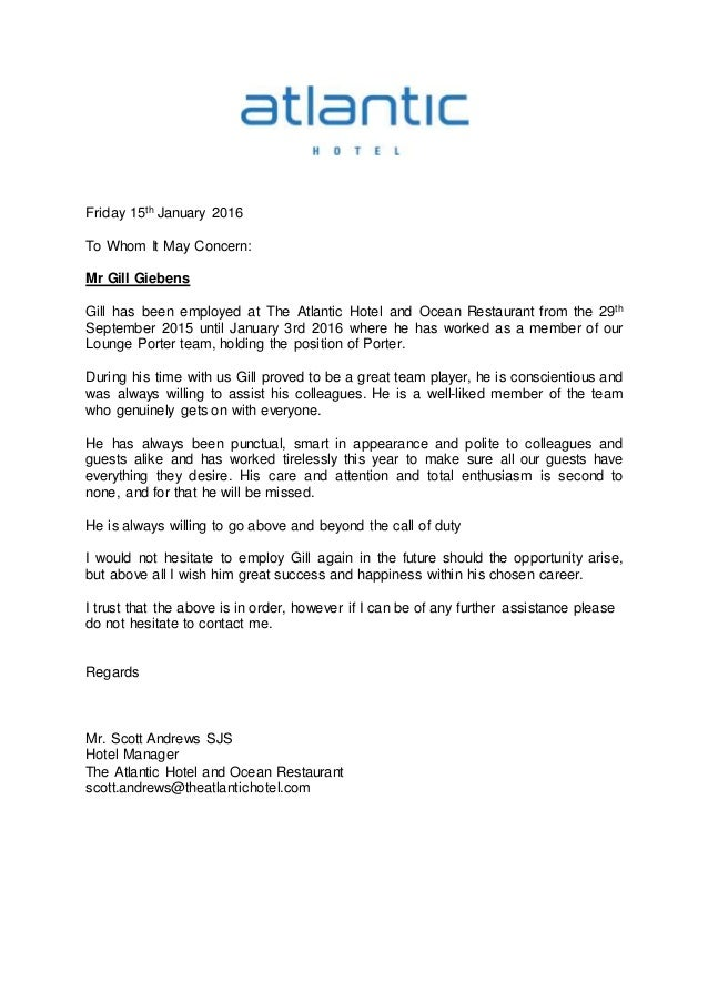 Reference letter atlantic hotel for Hotel recommendation