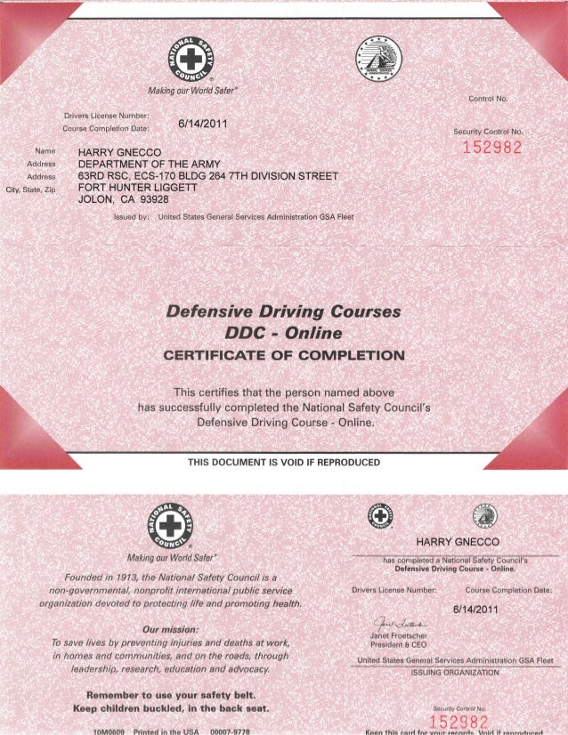 NSC Defensive Driving