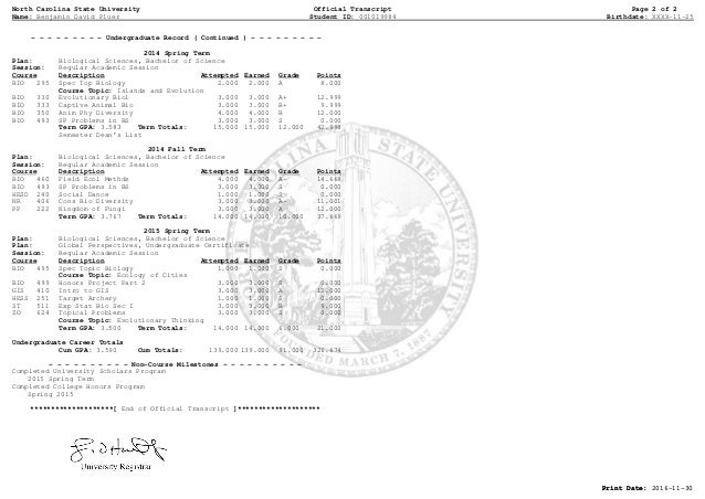 NC State Official Final Transcript