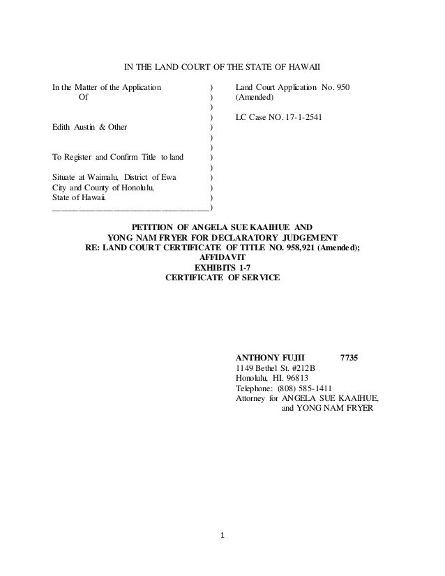 Angela Kaaihue Files Land Court Petition