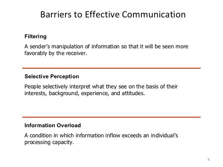 identify barriers to communication Get an answer for 'identify barriers to effective communication' and find homework help for other health questions at enotes.