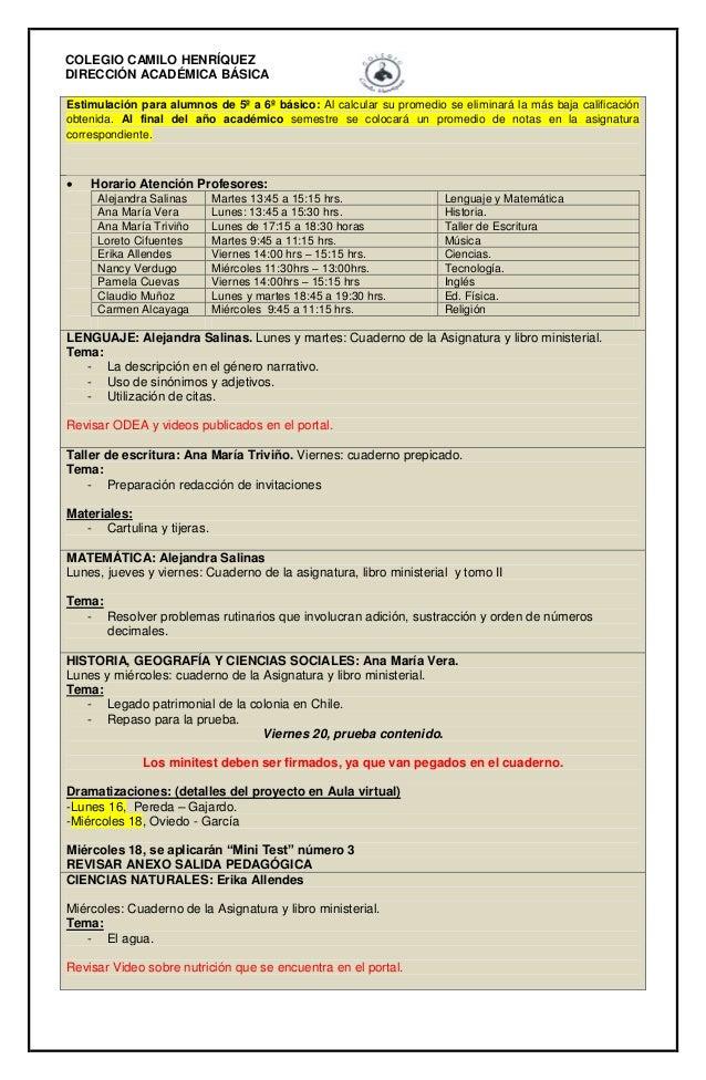 COLEGIO CAMILO HENRÍQUEZ DIRECCIÓN ACADÉMICA BÁSICA Estimulación para alumnos de 5º a 6º básico: Al calcular su promedio s...