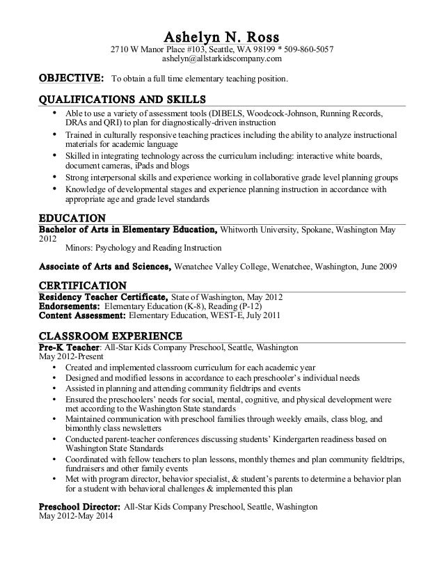 Ashelyn Ross Resume