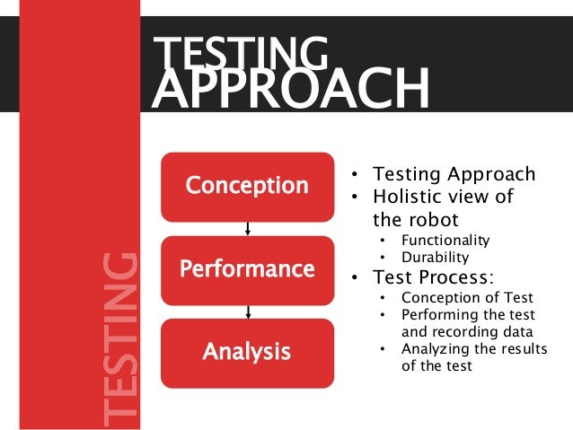 Conception Performance Analysis • Testing Approach • Holistic view of the robot • Functionality • Durability • Test Proces...