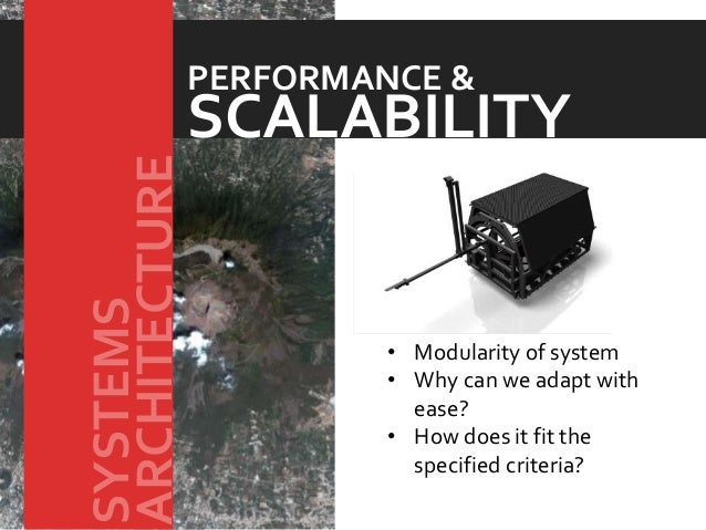 • Modularity of system • Why can we adapt with ease? • How does it fit the specified criteria? SCALABILITY PERFORMANCE & A...