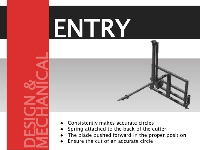 ENTRY ● Consistently makes accurate circles ● Spring attached to the back of the cutter ● The blade pushed forward in the ...
