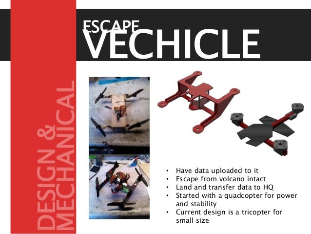 VECHICLE • Have data uploaded to it • Escape from volcano intact • Land and transfer data to HQ • Started with a quadcopte...
