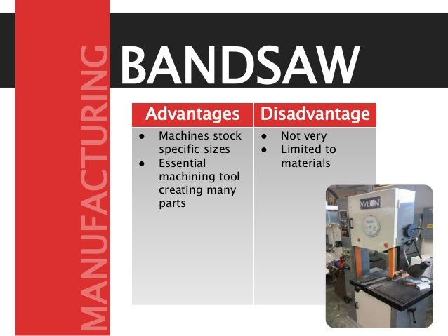 BANDSAW Advantages Disadvantage s● Machines stock specific sizes ● Essential machining tool creating many parts ● Not very...