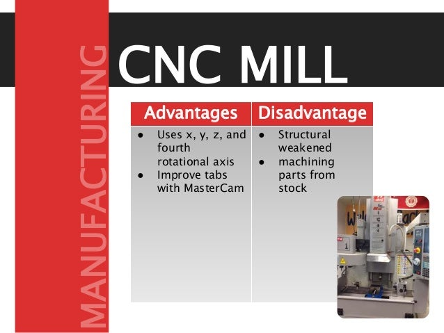 CNC MILL Advantages Disadvantage s● Uses x, y, z, and fourth rotational axis ● Improve tabs with MasterCam ● Structural we...