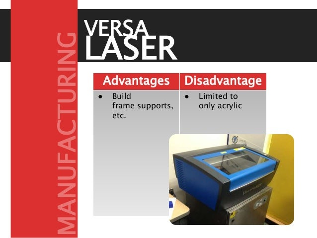 LASER CUTTERAdvantages Disadvantage s● Build frame supports, etc. ● Limited to only acrylic VERSA MANUFACTURING