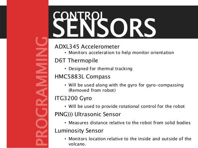SENSORSADXL345 Accelerometer • Monitors acceleration to help monitor orientation D6T Thermopile • Designed for thermal tra...