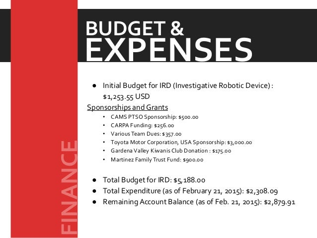 ● Initial Budget for IRD (Investigative Robotic Device) : $1,253.55 USD Sponsorships and Grants • CAMS PTSO Sponsorship: $...