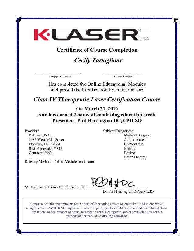 Certificate - K-Laser