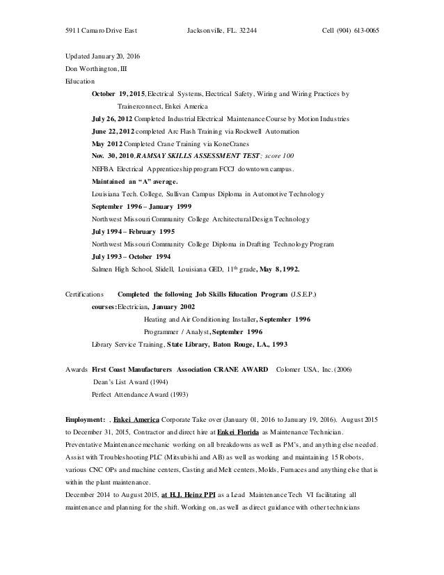 resume don worthington iii
