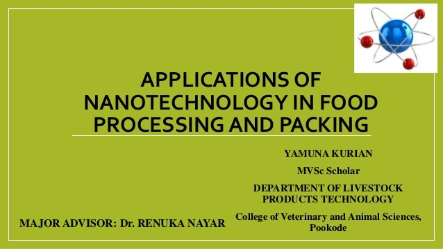 APPLICATIONS OF NANOTECHNOLOGY IN FOOD PROCESSING AND PACKING YAMUNA KURIAN MVSc Scholar DEPARTMENT OF LIVESTOCK PRODUCTS ...