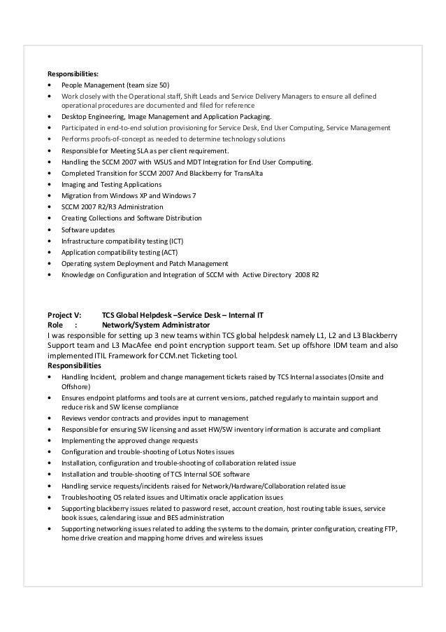 resume it infrastructure services