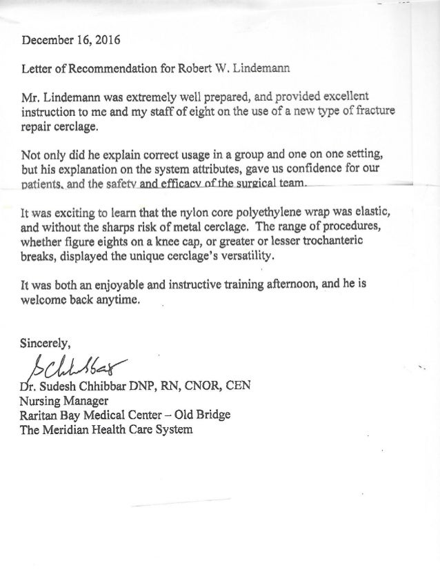Nursing Manager Recommendation Letter Medical Device Training
