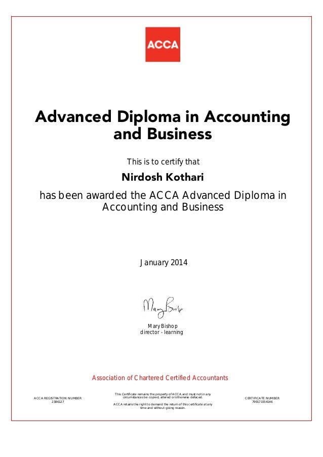 Advance Diploma In Accounting And Finance Certificate
