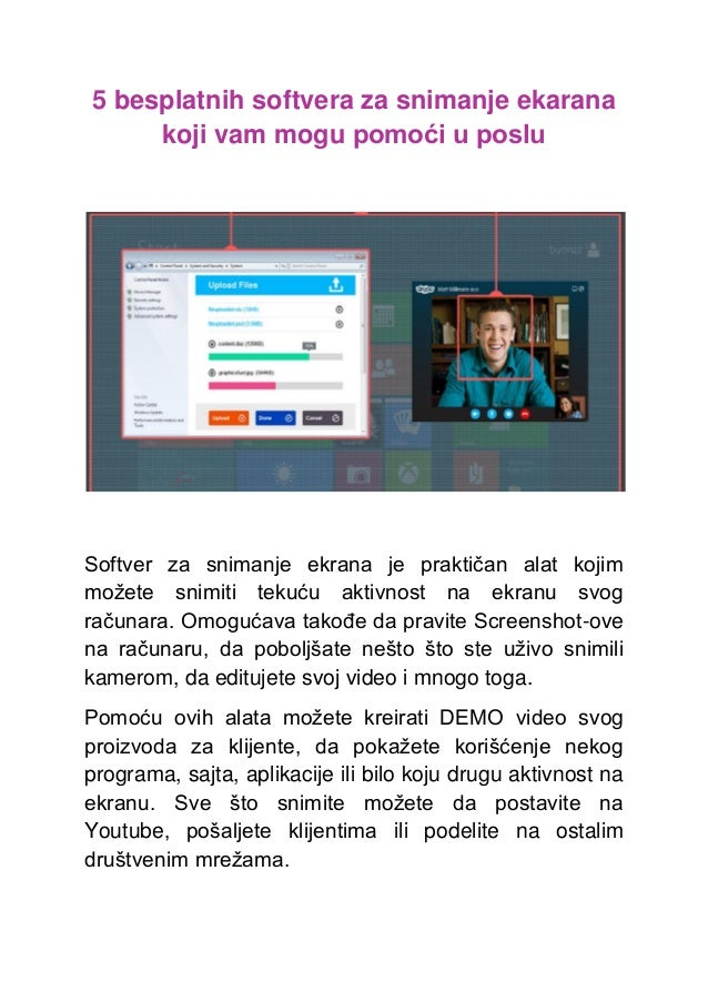 5 besplatnih softvera za snimanje ekarana koji vam mogu pomoći u poslu Softver za snimanje ekrana je praktičan alat kojim ...