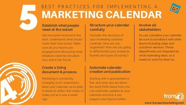 MARKETINGCALENDAR B E S T  P R A C T I C E S  F O R  I M P L E M E N T I N G  A . . . Structure your calendar carefull...