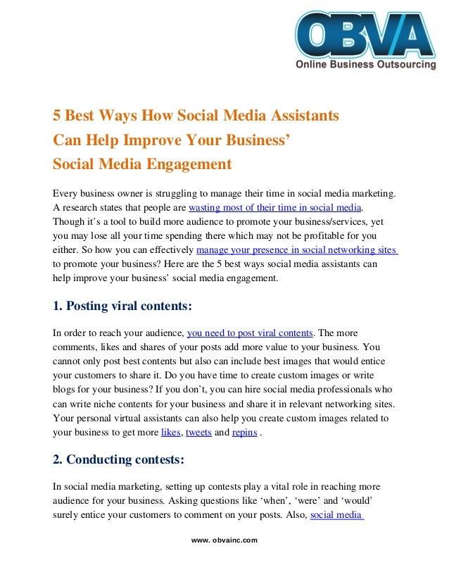 5BestWaysHowSocialMediaAssistants CanHelpImproveYourBusiness' SocialMediaEngagement Everybusinessowner...