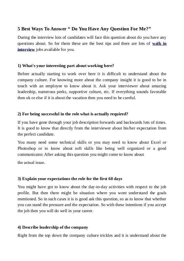 5 Best Ways To Answer U201c Do You Have Any Question For Me?