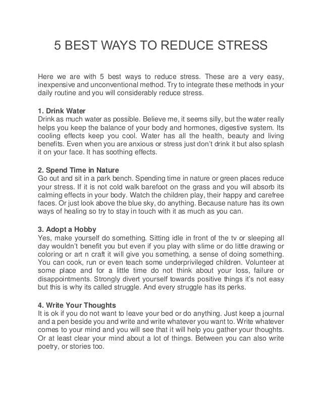 5 Best Ways To Reduce Stress