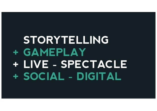 STORYTELLING + GAMEPLAY + LIVE - SPECTACLE + SOCIAL - DIGITAL