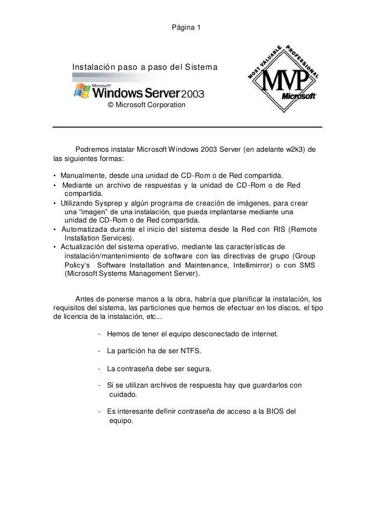 Página 1          Instalación paso a paso del Sistema                     © Microsoft Corporation            Podremos inst...