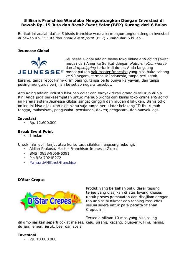 5 Bisnis Franchise Waralaba Menguntungkan Dengan Investasi di Bawah Rp. 15 Juta dan Break Event Point (BEP) Kurang dari 6 ...