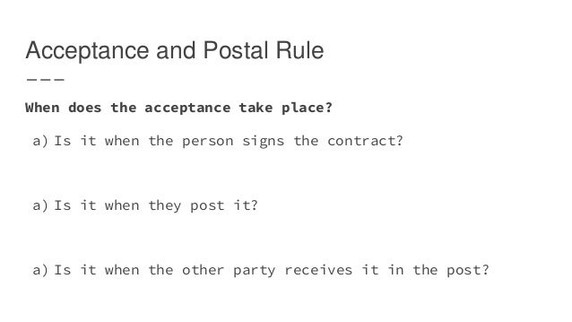 postal rule contract law