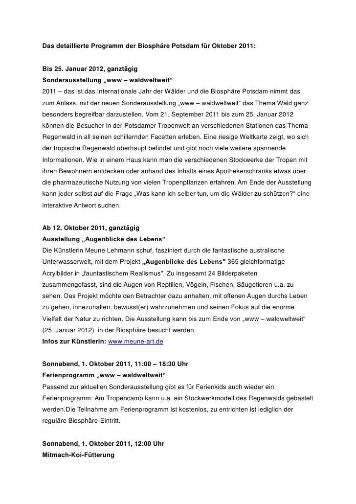 """Das detaillierte Programm der Biosphäre Potsdam für Oktober 2011:Bis 25. Januar 2012, ganztägigSonderausstellung """"www – wa..."""
