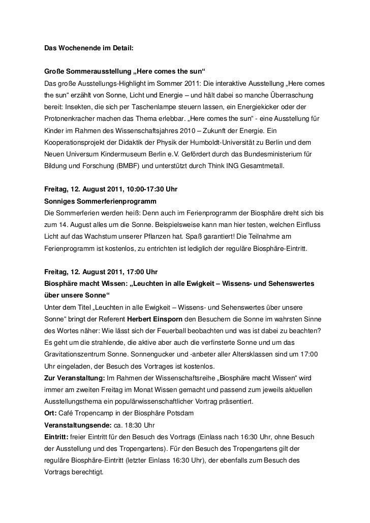 """Das Wochenende im Detail:Große Sommerausstellung """"Here comes the sun""""Das große Ausstellungs-Highlight im Sommer 2011: Die ..."""