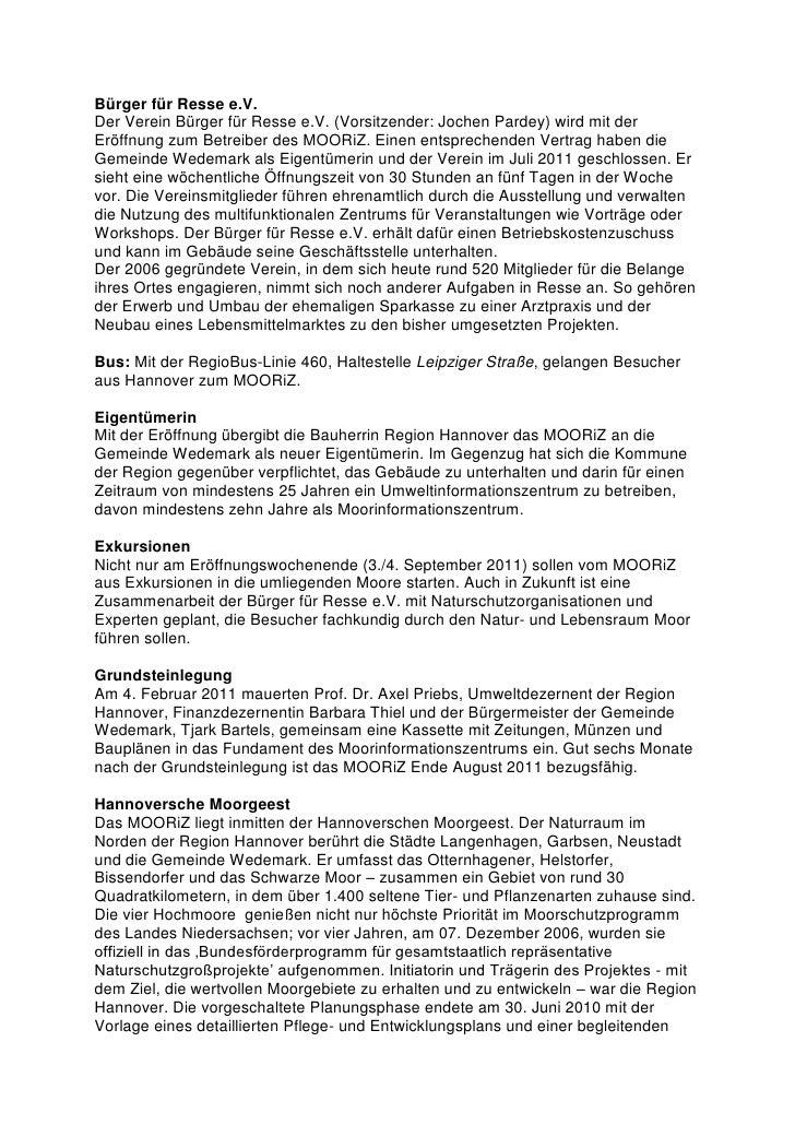 Bürger für Resse e.V.Der Verein Bürger für Resse e.V. (Vorsitzender: Jochen Pardey) wird mit derEröffnung zum Betreiber de...