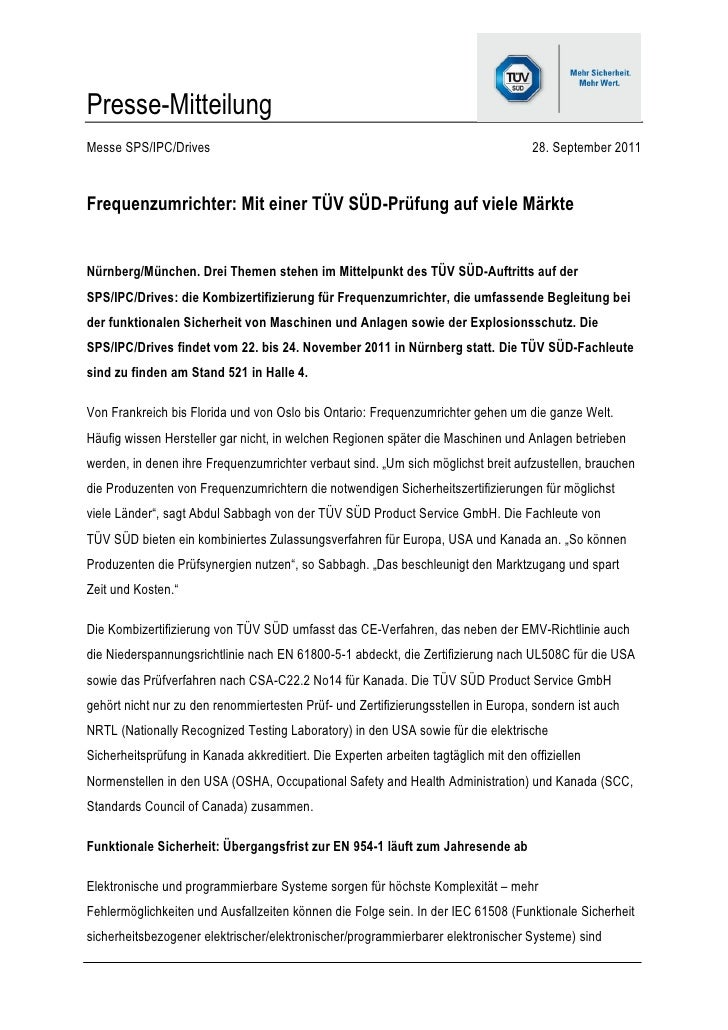 Presse-MitteilungMesse SPS/IPC/Drives                                                                 28. September 2011Fr...