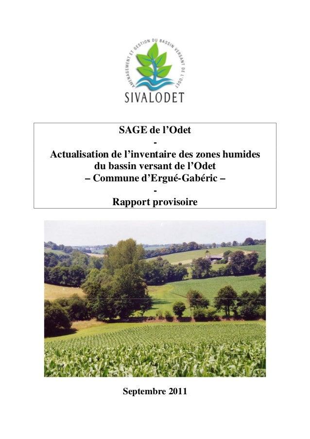 SAGE de l'Odet Actualisation de l'inventaire des zones humides du bassin versant de l'Odet – Commune d'Ergué-Gabéric – Rap...