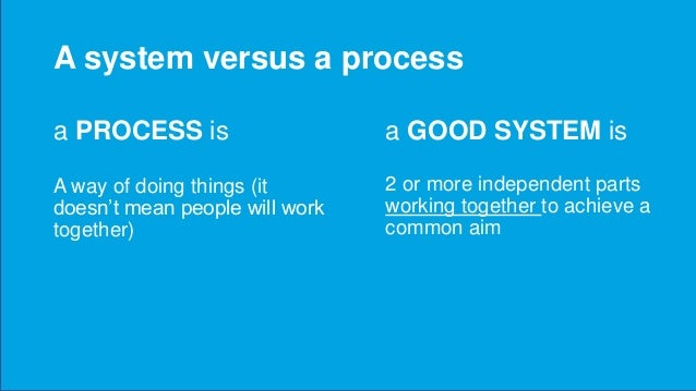A system versus a process a GOOD SYSTEM is 2 or more independent parts working together to achieve a common aim a PROCESS ...