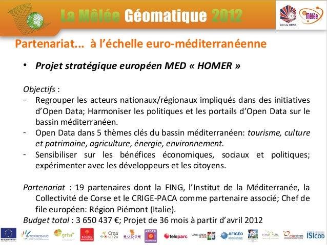 Partenariat... à l'échelle euro-méditerranéenne • Projet stratégique européen MED « HOMER » Objectifs : - Regrouper les ac...