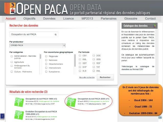En 2 mois ces 3 jeux de données     ont été téléchargés de       nombreuses fois :     -   Ocsol 2006 : 144     -    Ocsol...