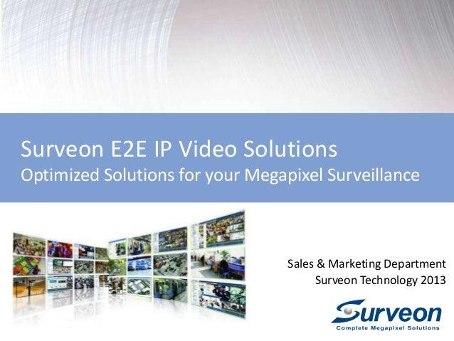 Surveon E2E IP Video Solutions Optimized Solutions for your Megapixel Surveillance Sales & Marketing Department Surveon Te...