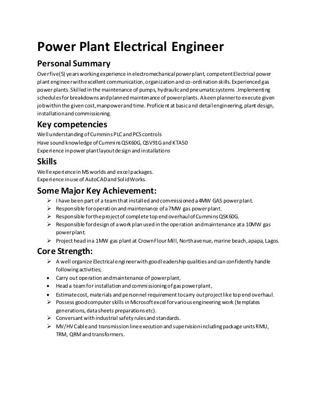 Charming Power Plant Electrical Engineer Personal Summary Overfive(5)  Yearsworkingexperience In Electromechanical Powerplant,