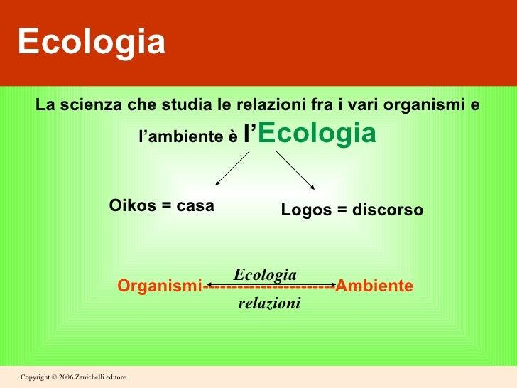 Ecologia La scienza che studia le relazioni fra i vari organismi e l'ambiente è  l' Ecologia Oikos = casa Logos = discorso...