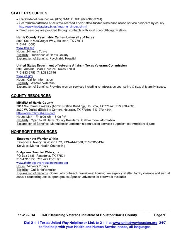 City and Harris County Resource Guide for VET
